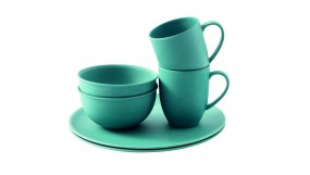 Outwell Bambus Dinner Set 2 Personen blau